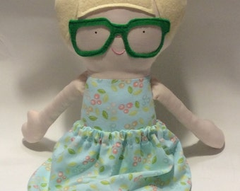 "Handmade Girl Cloth Doll 20"" Billie-Jean Plush Softie Rag Doll With Removable Skirt Blonde Wool Felt Hair"