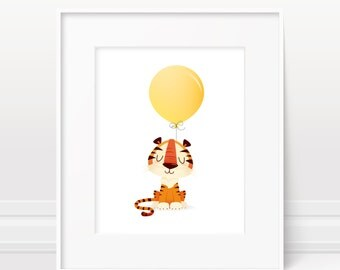 Nursery wall art - Tiger print, baby shower gift, zoo animal, safari animal
