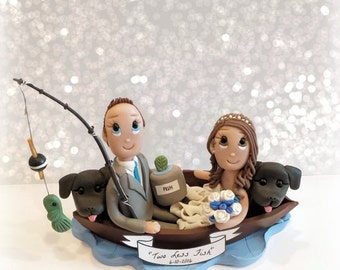 Two Less Fish Custom Fishing Wedding Cake Topper with 2 Dogs