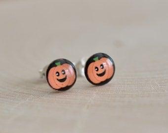 Pumpkin Stud Earrings in Sterling Silver 925 / Sterling Silver Pumpkin Earrings/ Halloween Jewelry / Children's Earrings / Pumpkin Studs
