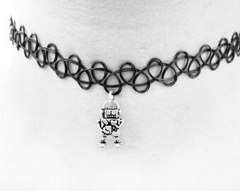 Robot Choker // Pastel Goth Tattoo Choker // Creepy Cute Kawaii Robot Charm Necklace // Retro Robot 90s Grunge Choker // Emo Punk Choker