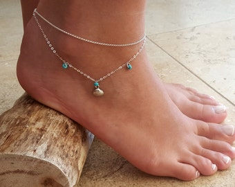 Silver Anklet - Silver Ankle Bracelet - Beaded Anklet - Foot Jewelry - Foot Bracelet - Chain Anklet - Summer Jewelry - Beach Jewelry