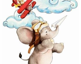 Elephant Nursery, Elephant, Airplane Nursery, Elephant and Mouse, Elephant Decor, Elephant Art, Nursery Art, Nursery Decor, Jungle Nursery