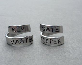 Key Master Gate Keeper Ghostbusters Best Friend Rings Couple Rings Stamped Aluminum Ring