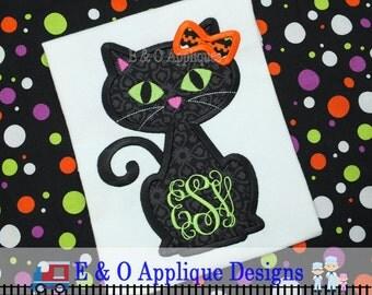 Halloween Black Cat Applique Design - Halloween Embroidery Design - Cat Applique - Halloween Applique - Digital Design - Cat Embroidery