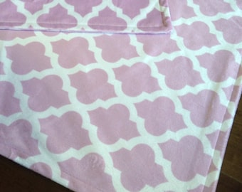 Minky Baby Blanket- Pink Greek Key Lattice