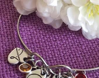 Mom Jewelry - Infinity Bracelet - Personalized initial birthstone -  Intial Bracelet - Personalized Birthstone Bracelet Initial Jewelry