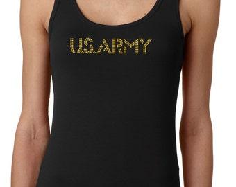 Rhinestone Army Tank Top, Military Tank Top – Sparkle Tank Top – Custom Shirts–women's clothing–US Army