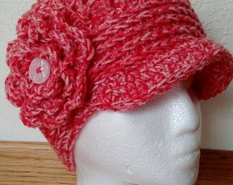 Pink crochet hat with Flower and brim , fits teen or adult size