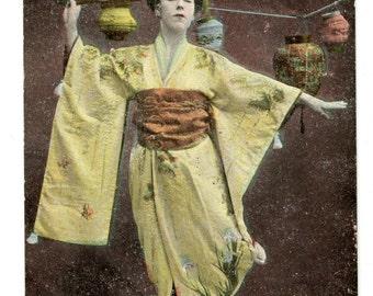1900s Japanese Geisha Victorian Postcard Japan Woman Lanturn Kimono Fans