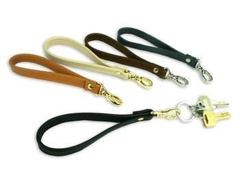 Leather Key Fob - Wrist Strap Keyring - Leather Keychain - Lanyard Wristlet in Black, Brown, Camel. Cream, Metallic Gray