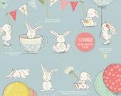 The Fresh Spring Clipart Collection / bunny clip art / nursery wall art / baby announcements / spring floral wreath clipart / nursery decor