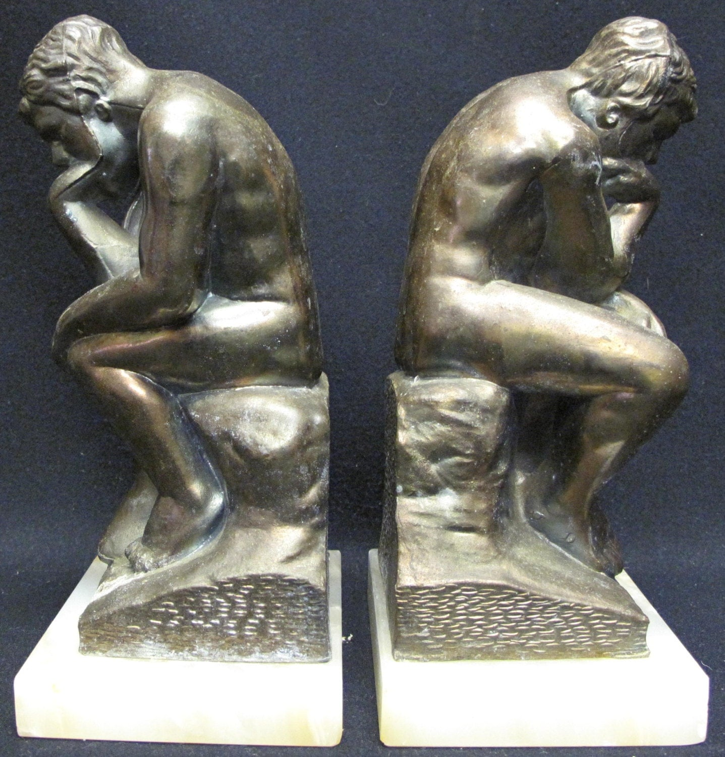 Antique pair of bronze bookends the thinker on - Antique brass bookends ...