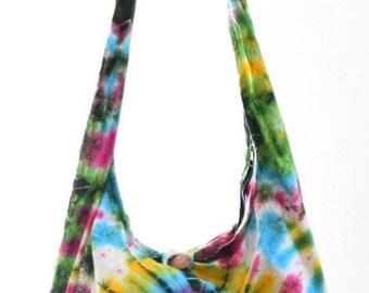 Cotton Tie Dye shoulder bag. Messenger,Hippie, Gypsy Sling,Hippy, Hobo, Crossbody, Monk, Alms, Beach.