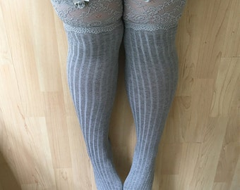 Barbarella Knit Silver Soft Lace Lingerie Thigh High Stockings