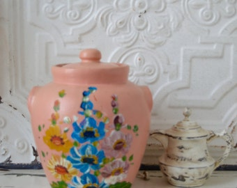 Vintage Pink Cookie Jar or Canister with a Hand Painted/Tole Painted Floral Design/Shabby Chic/Cottage Chic