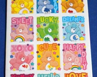 Vintage Care Bears Stickers Funshine Grumpy Lots Love Bear Stickety Do Da 2004 2 Sheet 24 Seals Scrapbooking Card Marking Crafts Collectible