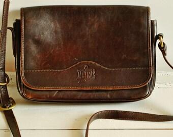 Vintage MATRAS Leather Saddle Bag / Brown / Shoulder Leather Bag / Messenger bag / Women Cross Body Bag