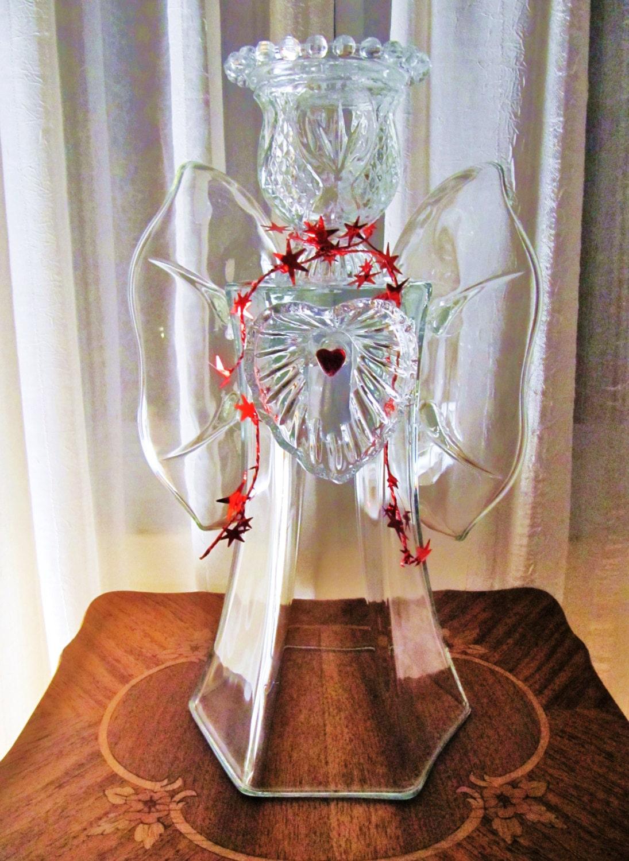 Garden Art Glass Angel Glass Angel Angel Sculpture Upcycled