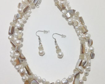 White Cultured Pearl, Natural MOP Shell, Faceted Glass, Non-Tarnish Silver Plated Wire, Wire Crochet, Necklace, Earrings