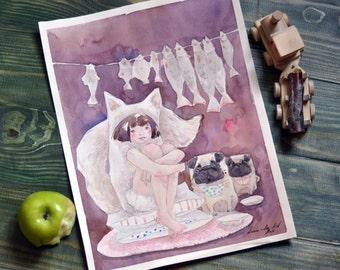 Pug Watercolor, Funny Painting, Watercolor Painting, Modern Art Painting, Dog Watercolor, Dog Painting, Dog Art, Pug Art, Pug Painting