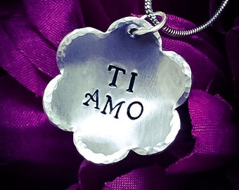 Ti Amo Hand Stamped Necklace. I Love You Necklace, Ti Amo Necklace, Flower Necklace, Love Necklace, Love Jewelry, Girlfriend Gift, Wife Gift