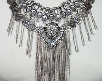 Silver Chain Cascade Coins Necklace / Crystal Clear Beads Statement Necklace.