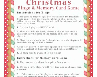 Instant Download - Two Christmas games - BINGO Plus a MEMORY game, gift for child or grandchild, diy PRINTABLE