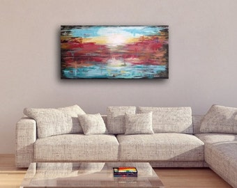Large Abstract painting original. Large abstract colorful landcape canvas painting