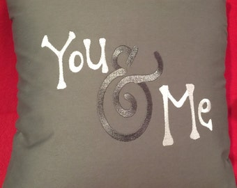 You & Me Boutique Pillow, Embroidered Pillow, Wedding Pillow