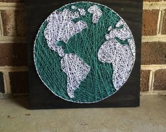 Globe String Art Wood Sign
