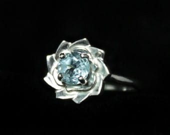 Blue Topaz Flower Ring, 0.65 Carats, 6mm Round, Sterling Silver, Size 7