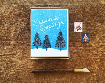Season's Greetings Pine Trees, Boxed Set of 8 Letterpress Holiday Cards, Christmas Cards