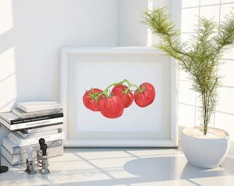 Tomato Art Print - Tomato on Vine Watercolor Art Print - Tomato Print - Kitchen Decor Wall Art - Kitchen Art - Original Art Print
