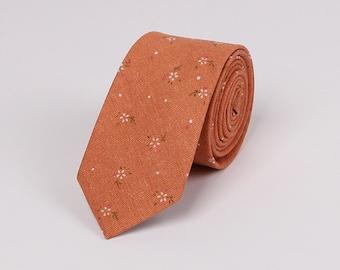 Orange Cotton Neckties.Wedding Floral Ties.Wedding Accessoires.Skinny Ties.