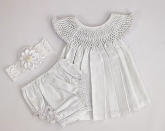 Baby Dress, Baby White Dress Set, Baby Dress Bloomer Headband Set, Baby Baptism Dress, Baby Dress Set, Flower Girl Dress, 1130