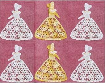 Crochet Crinoline Lady Pattern Vintage 40s Crochet Ornament Crochet Lady applique Crochet Pattern Crinoline Lady Applique Pattern