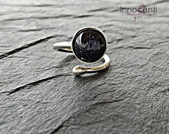 Blue Goldstone Ring Goldstone Blue Ring Stacking Goldstone Ring Constellation Ring Stacking Ring Gemstone Ring Universe Ring Goldstone Ring