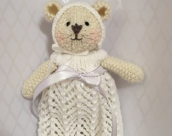 Hand Knitted Teddy Bear Christening Gift Prop