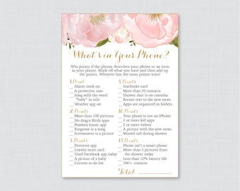 Floral Baby Shower What's in Your Phone Game - Printable Phone Raid Game - Blush Pink and Gold What's in Your Phone Game - Phone Game 0044