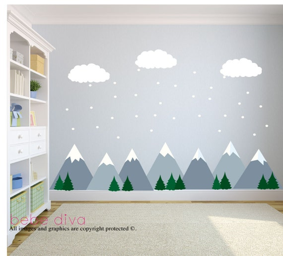 Mountain wall decals wall decals nursery baby wall decal for Childrens wall mural stickers