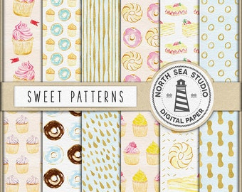 SWEET LIFE, Cupcake Digital Paper, Watercolor Patterns, Cupcakes, Donuts, Cakes, Birthday Paper, Donut Paper, BUY5FOR8
