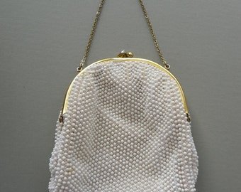 Vintage Early 1970's Handbag ~ White Beaded And Lined Handbag Purse Pocketbook ~ 7 Inch By 6 Inch By 2 Inch ~Very Good Condition
