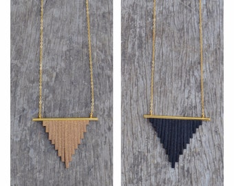 Black or gold fringe necklace