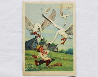 "Illustrator Sazonova Vintage Soviet Postcard ""The Magic Swan Geese"" Russian Folk Tale - 1956. Izogiz Publ. Birds, Boy, Houses"