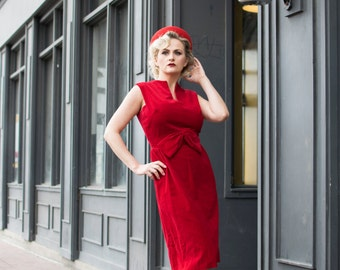 Vintage 1950s Vicky Vaughn Red Velvet Wiggle Dress