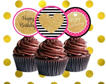 Kate Spade Inspired Birthday Cupcake Toppers - Kate Spade Birthday Party Decorations