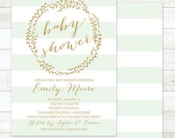 Baby Shower Invitation Gold Mint wreath, Gender Neutral Baby Shower Invitation, Gold Baby Shower Invitation, Printable Baby Shower Invite