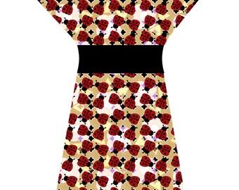 LADYBUG DRESS RUST (handmade & custom printed fabric)