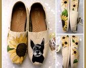 Women's Pet Portrait Painted TOMS, Pet Valentine Gift for Pet lover, Dog painting, Cats, pet memories, paintings, horse lovers, sunflower